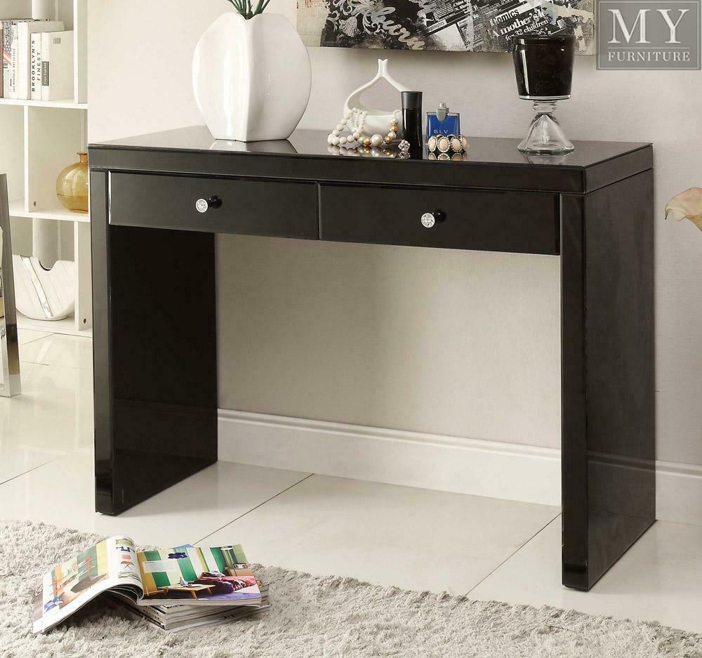 RIO CRYSTAL Black Glass Mirrored Console Dressing Table
