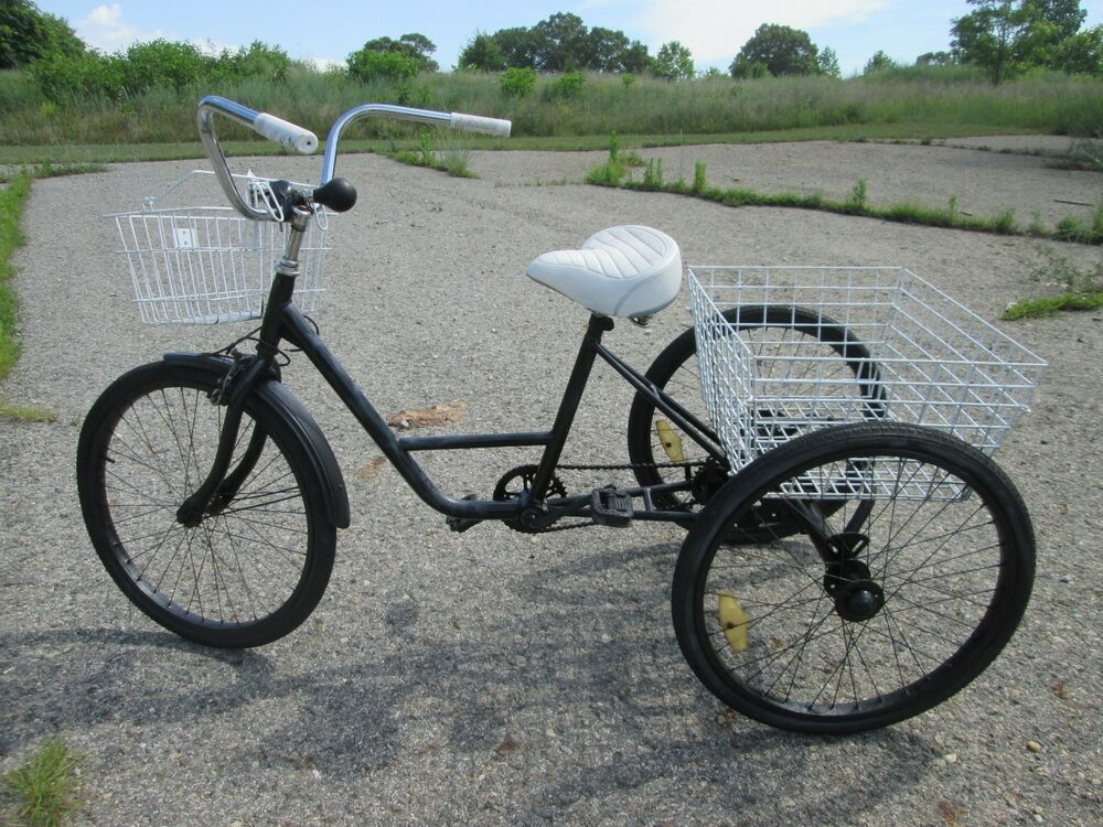 vintage heavy duty three 3 wheel trike bicycle with work. Black Bedroom Furniture Sets. Home Design Ideas