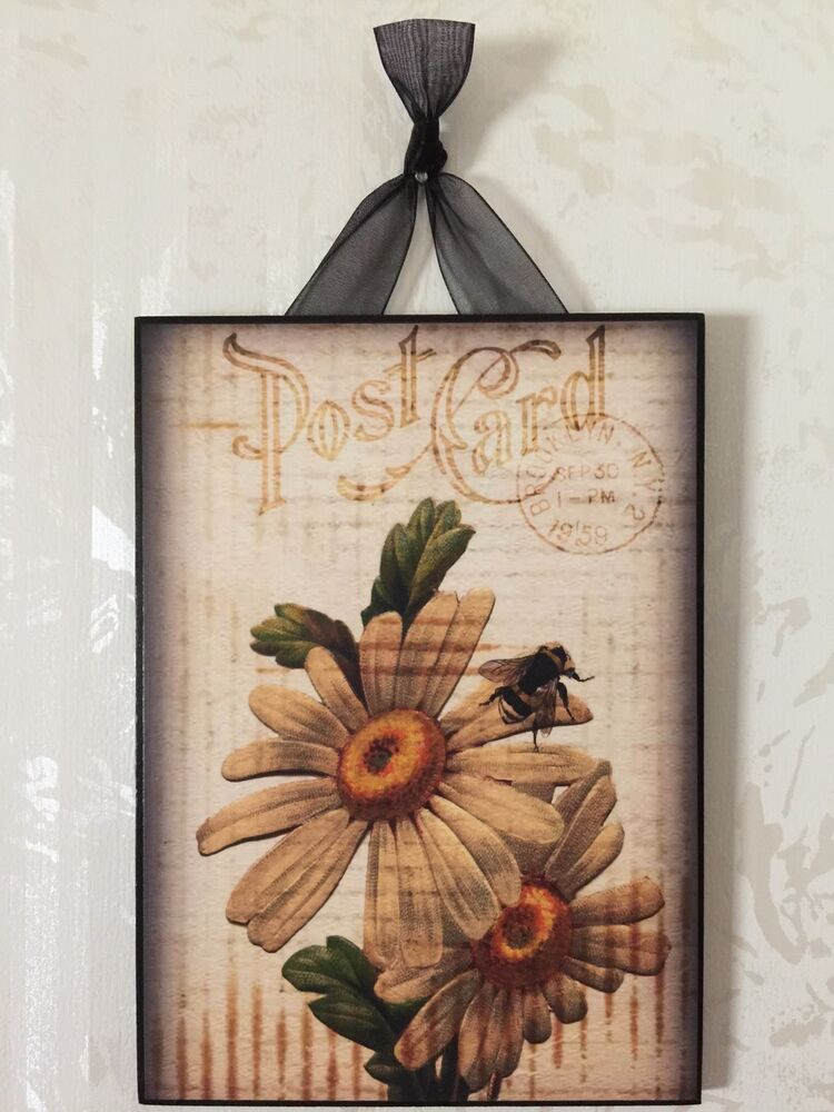 Vintage Daisy Bee Floral Postcard Plaque Wall Decor Sign
