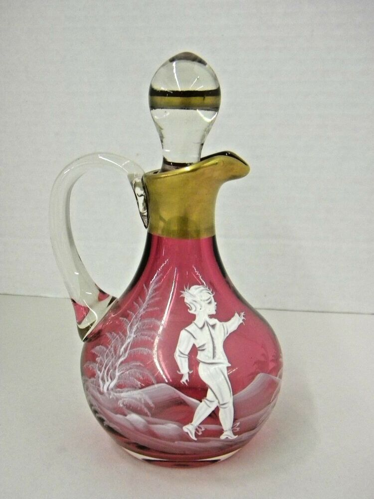 Cranberry Mary Gregory Glass Cruet Spectacular Ebay