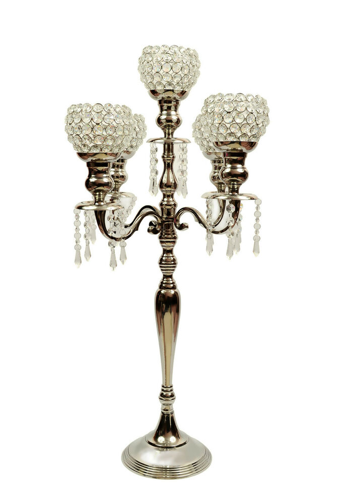 Arm crystal drops candelabra wedding centerpieces votive
