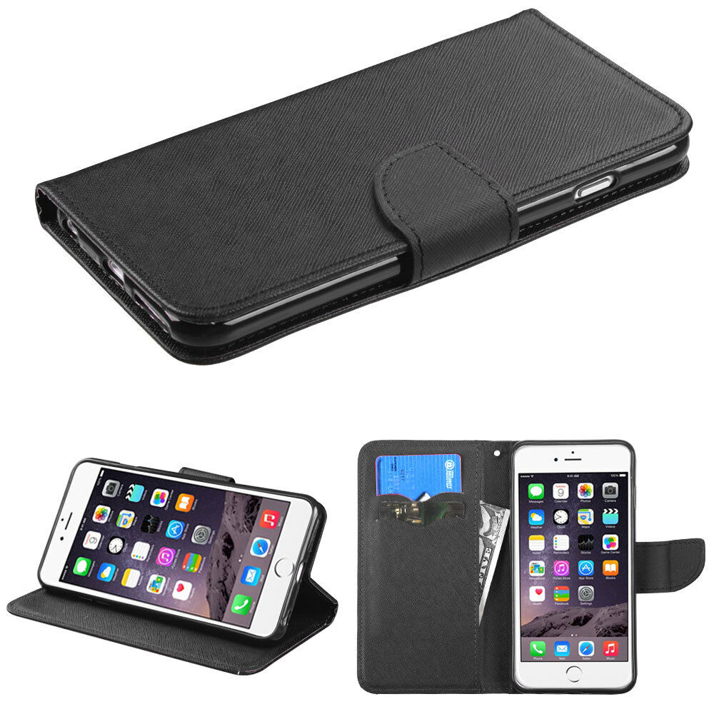 wallet iphone 5 case black leather flip wallet cell phone cover for apple 1280