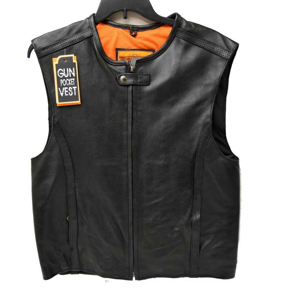 Men's Leather Motorcycle Vests Eric wearing our Leather Jean Biker Vest