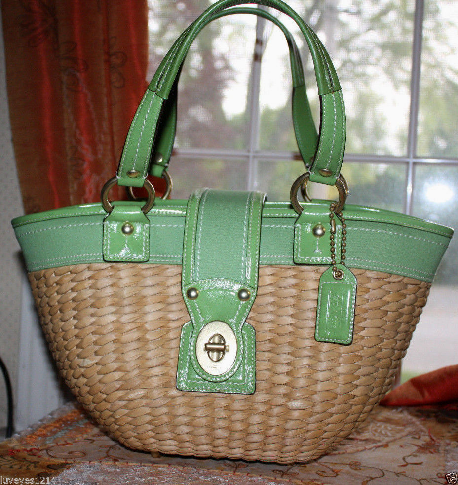 Coach Legacy Straw/wicker Green Leather Beach Summer Tote ...