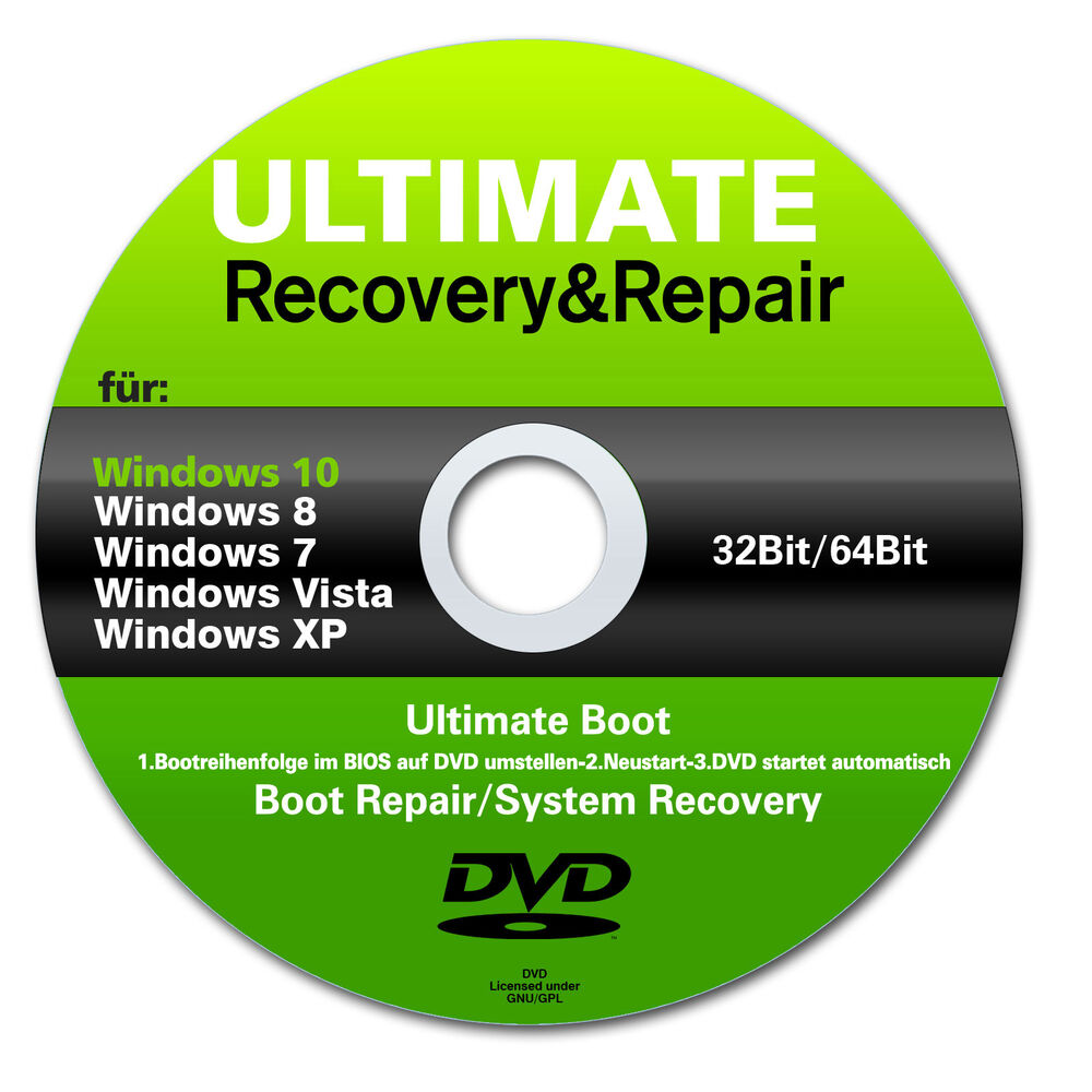 recovery repair cd dvd f r windows 10 7 8 vista xp 32. Black Bedroom Furniture Sets. Home Design Ideas