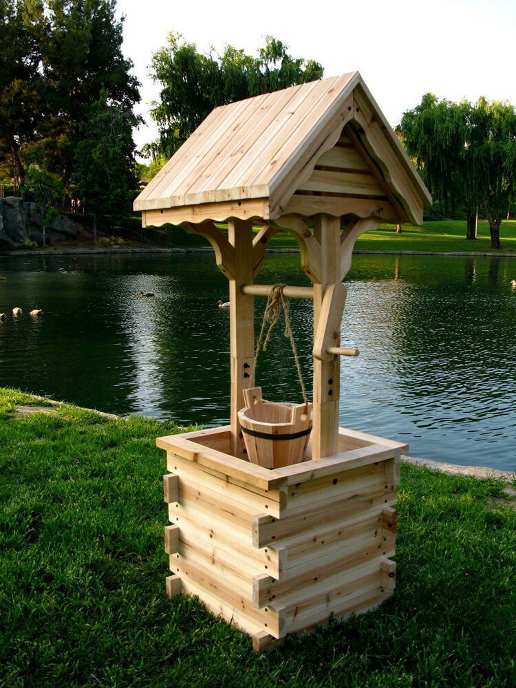Real wood cedar flower planter wishing well with roof kit for Garden wishing well designs