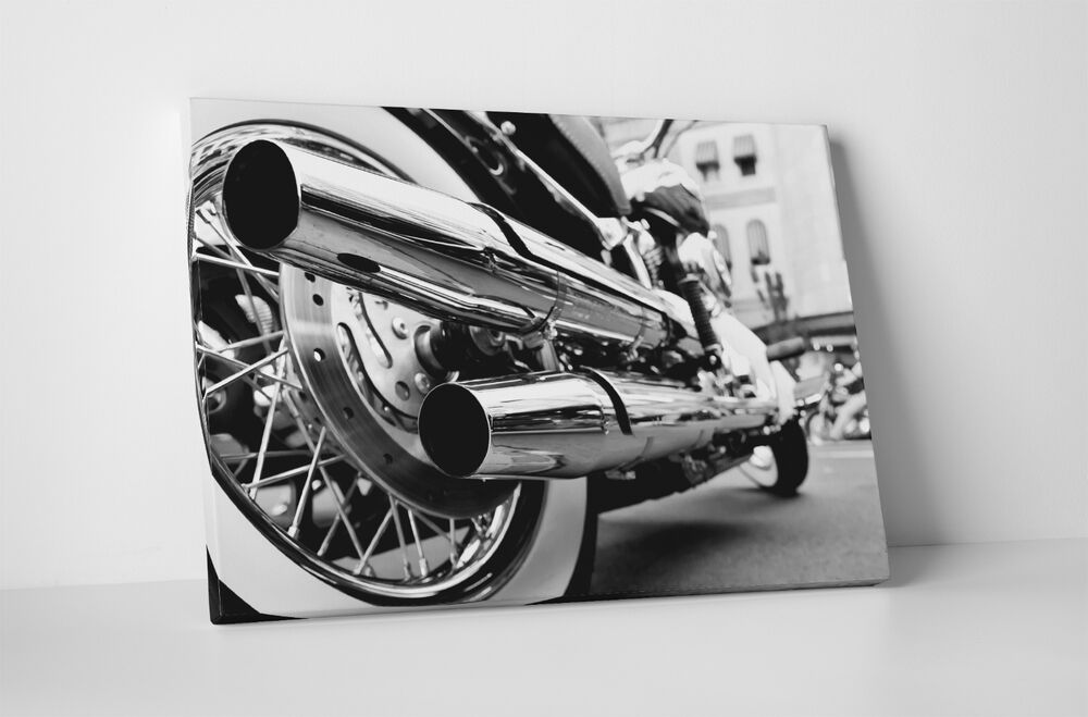 motorcycle chrome pop canvas pipes wall wrapped