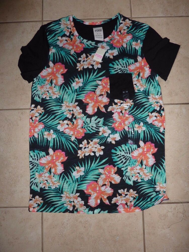 Victorias secret pink graphic tropical hawaiian floral for Hawaiian graphic t shirts