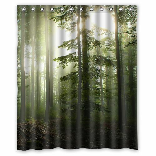 Custom Green Forest Sunshine Waterproof Polyester Bath