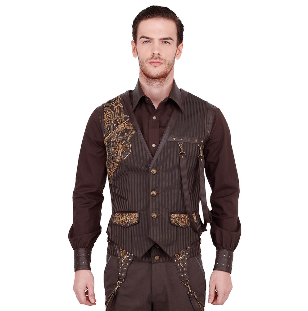 vintage goth steampunk outfit weste herren braun vest. Black Bedroom Furniture Sets. Home Design Ideas