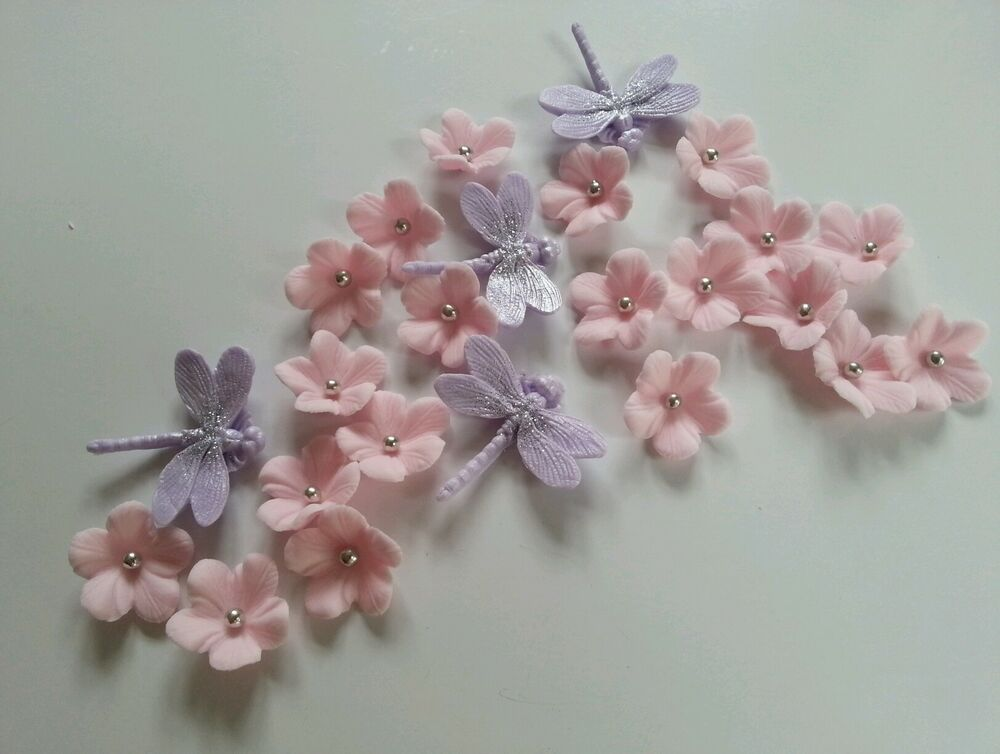 Cake Decoration Silver Balls : Edible Light Pink Veined Flowers & Silver Balls ...
