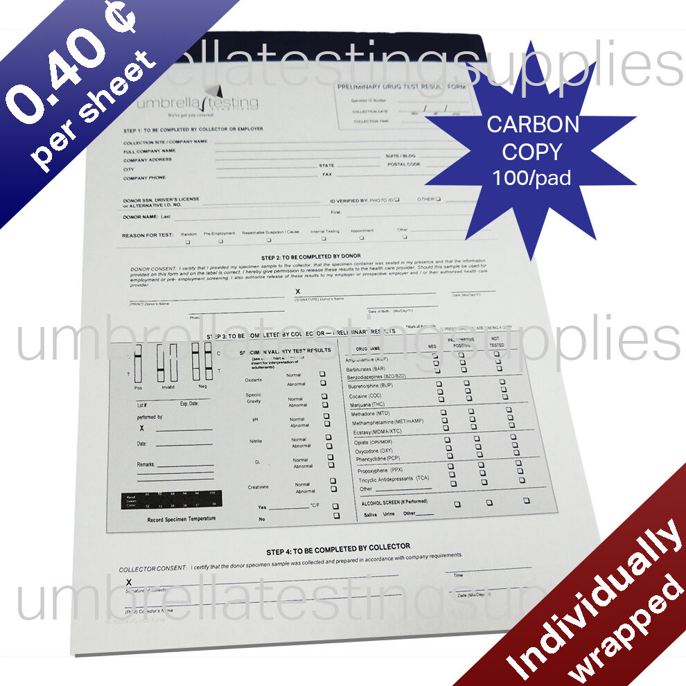 Chain of Custody - Drug Test Result Form - 100 sheets -Test Pad ...