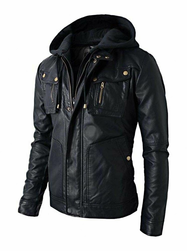 Leather jackets with hoodie
