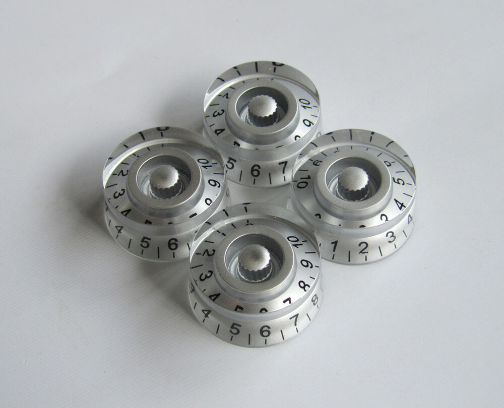 Set Of 4 Silver Lp Guitar Speed Knob Control Knobs For Epiphone Les Paul Sg Ebay