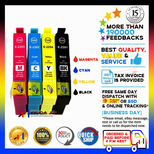 10 Epson Compatible 220XL 220XL 220 BCMY Ink W Chip