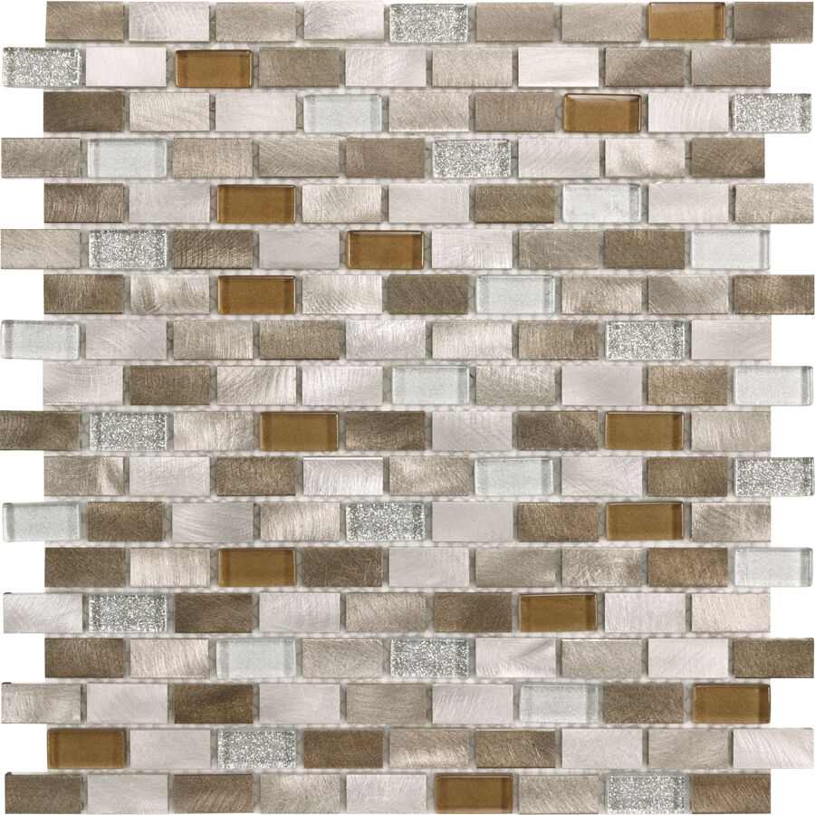 Brushed Aluminum Gray Copper Tan Polished Glass Mosaic Backsplash Tiles 11 Ebay