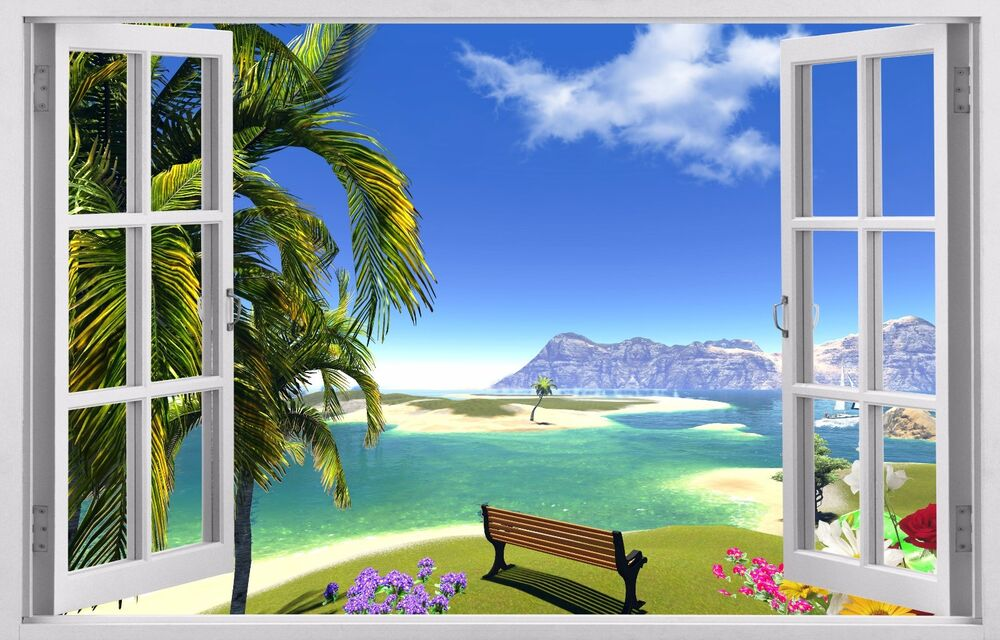 Decal 3d window wall stickers decor exotic beach haven for Beach view wall mural