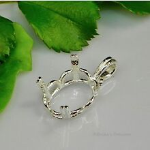 (10x8 - 20x15) OVAL REGALLE Pre-Notched Sterling Silver Pendant Setting