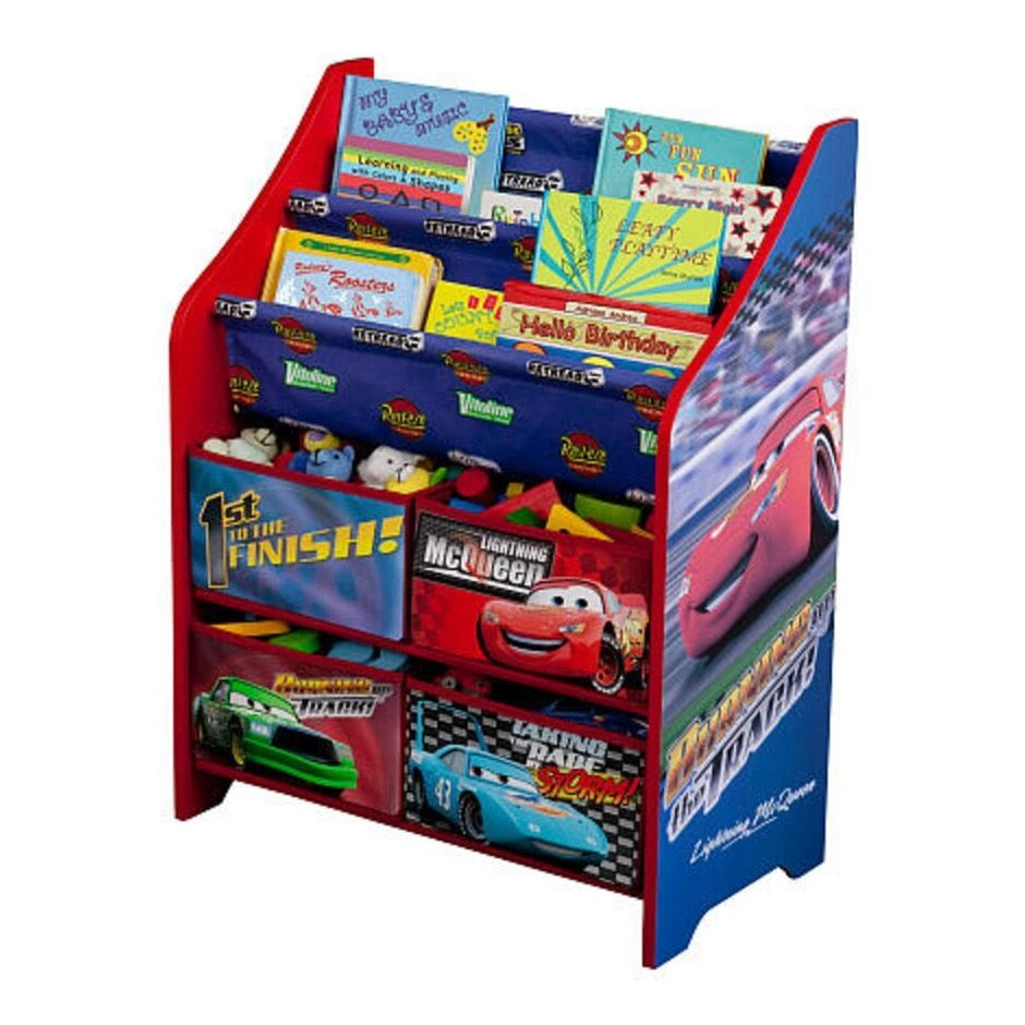 Toys storage organizer disney cars kids room book bookcase for Toy and book storage