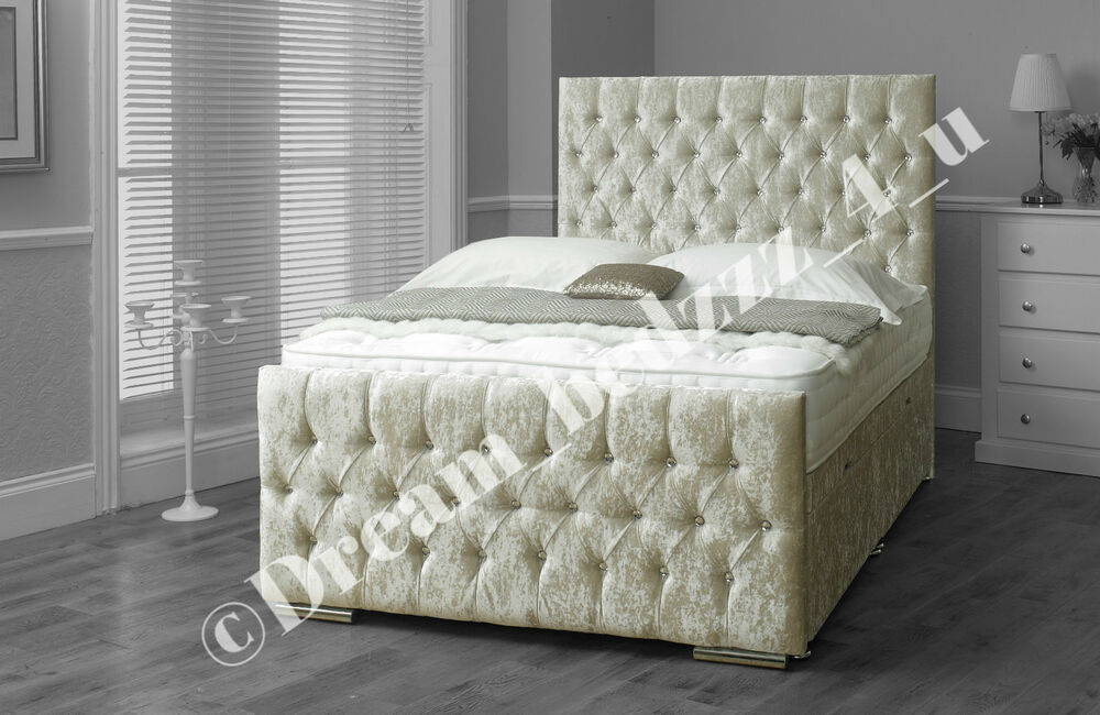 Crushed velvet storage ottoman lift up divan bed headboard for Velvet divan bed frame