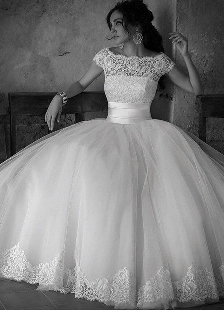 Ball gown wedding dress size 16 : Cap sleeve wedding dresses ball gown bridal size uk