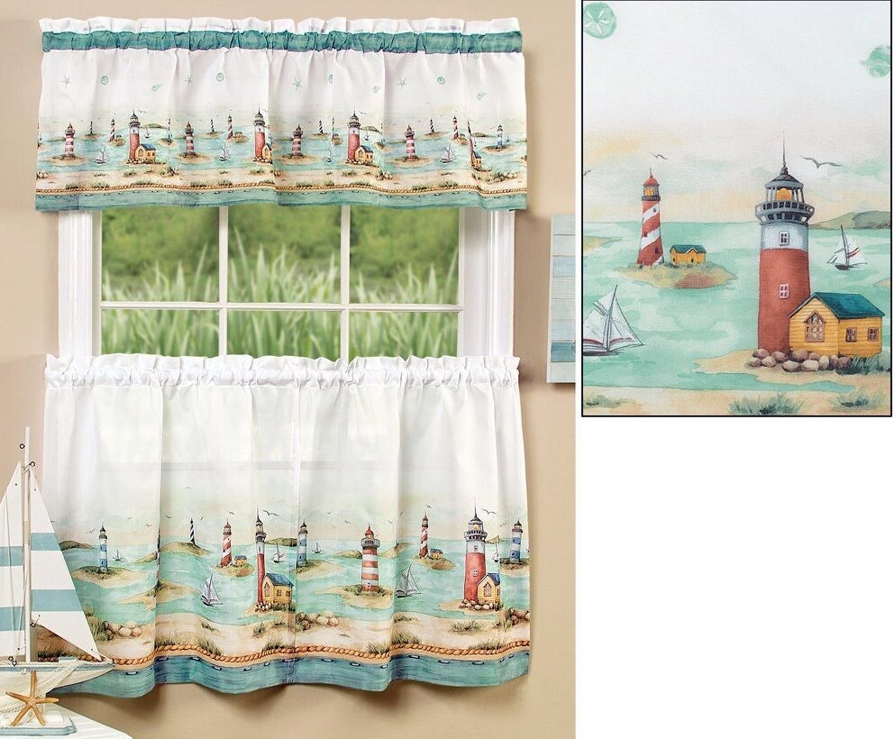 3 Pc Sheer & Light Nautical Lighthouses Kitchen Curtain