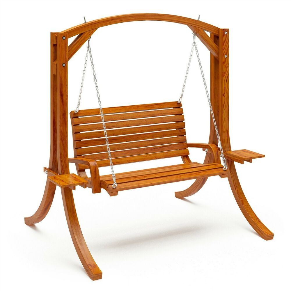 New Outdoor Rustic Wood Porch Bench Swing Heavy Duty Patio Lake Pool Yard Garden Ebay