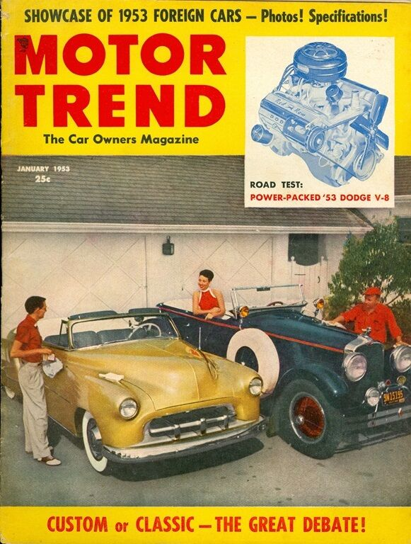 1953 motor trend magazine custom or classic foreign cars dodge v 8 ebay. Black Bedroom Furniture Sets. Home Design Ideas