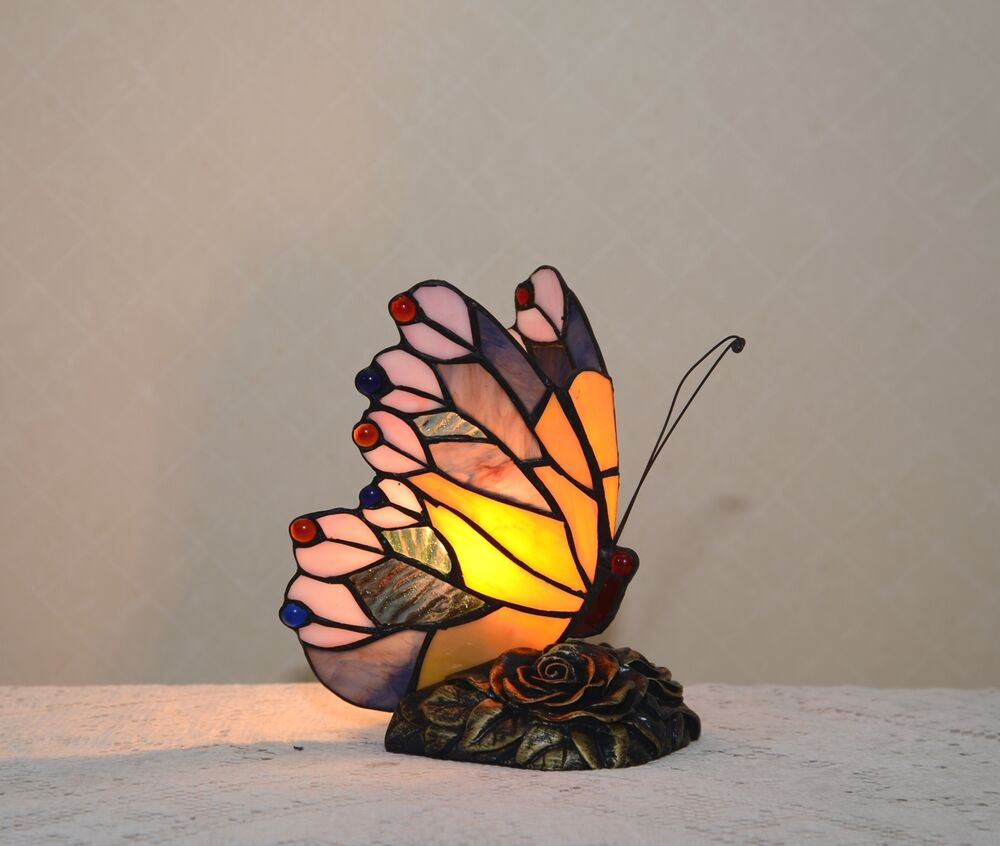 Stained Glass Handcrafted Butterfly Night Light Table Desk