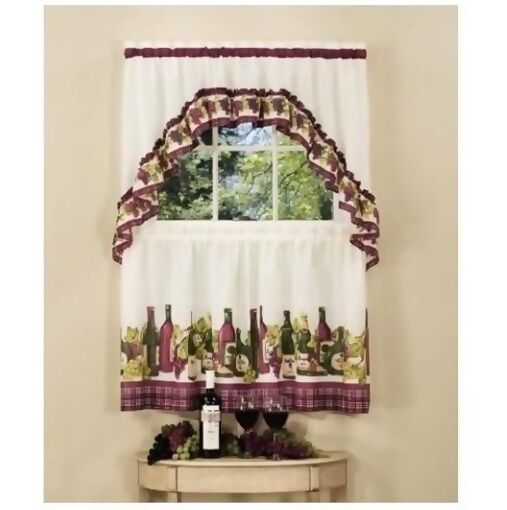 Chardonnay wine kitchen curtain set ruffled swag amp 36l tiers ebay