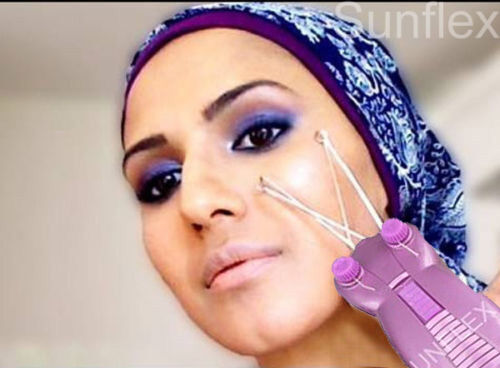 Threading machine facial hair remover