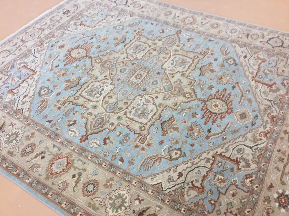 8 x 10 light blue beige serapi geometric persian oriental for Blue and white oriental rug