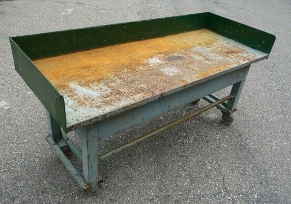 Vintage Rolling Industrial Machine Age Work Table Bench Ebay