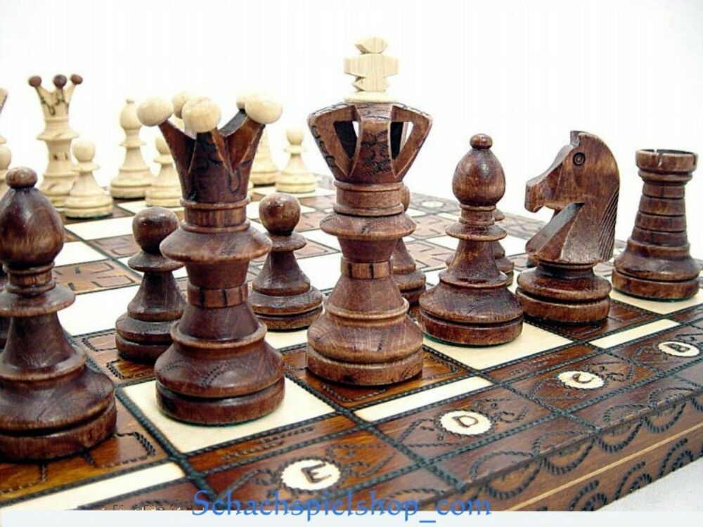 Large Wooden Chess Set Handcrafted Board 54x54 Schach