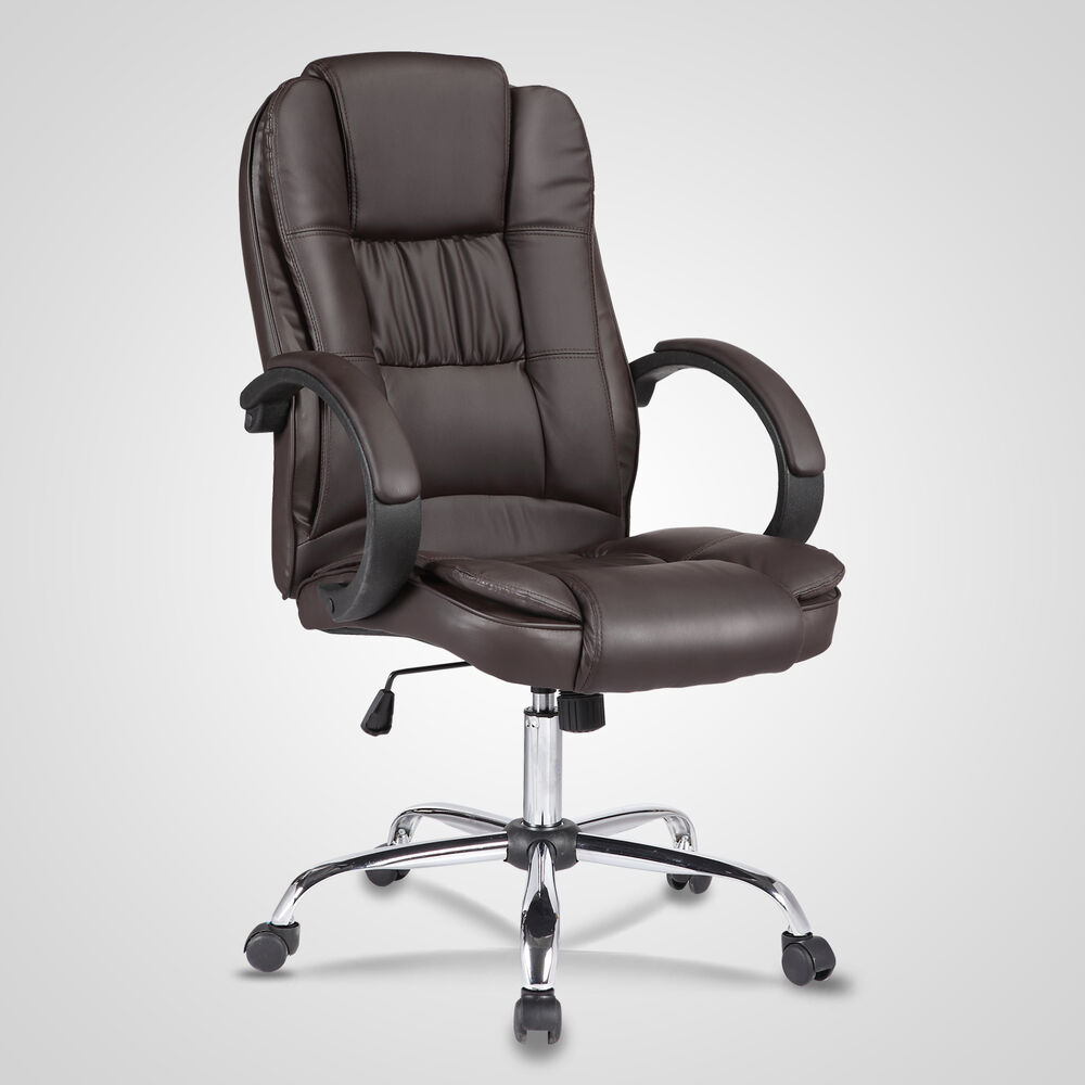 high brown leather executive office chair swivel adjustable computer chair ebay. Black Bedroom Furniture Sets. Home Design Ideas