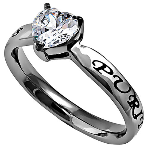 Purity Heart Ring Stainless Steel Christian Abstinence