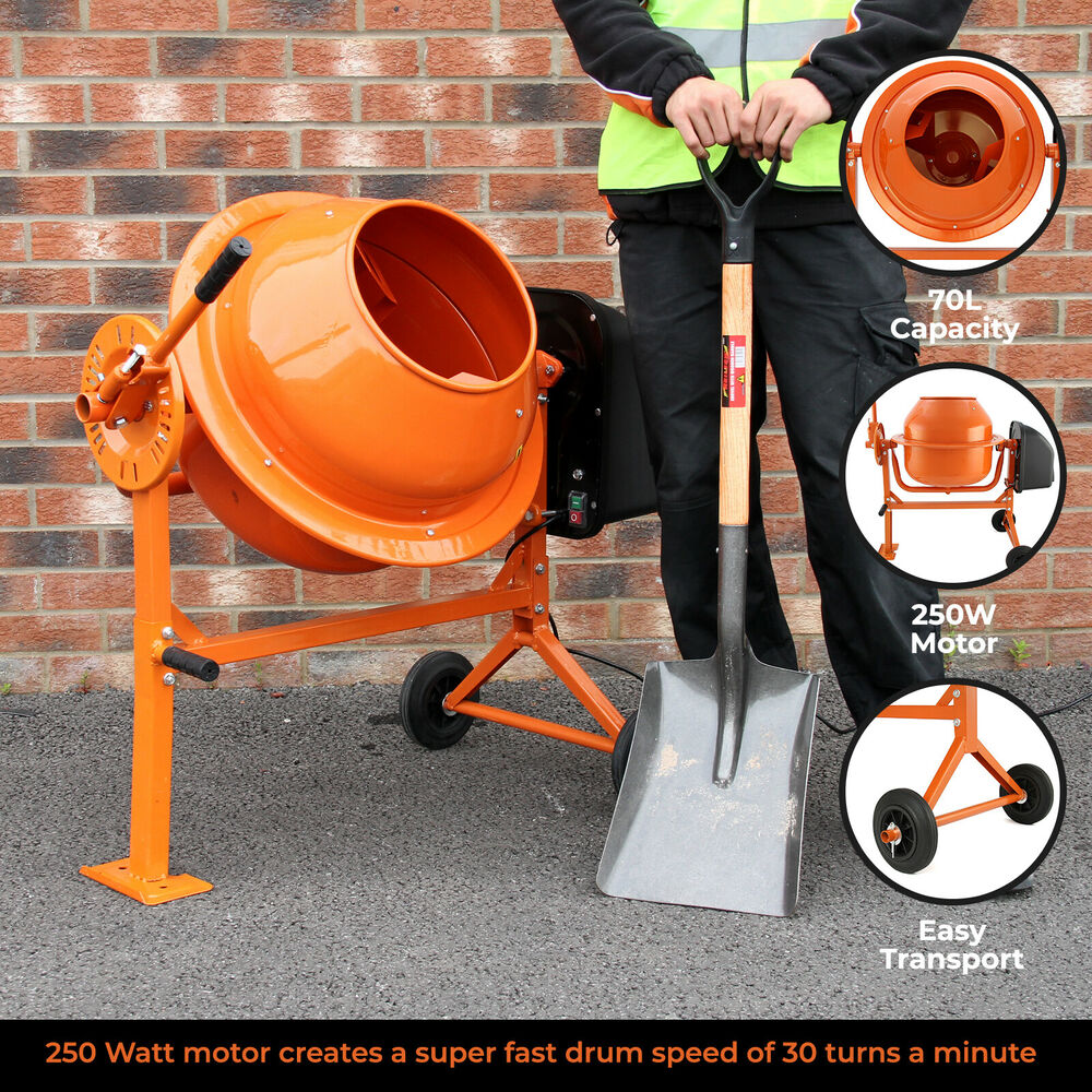 Cement Mixer Blades : Electric cement mixer litre w portable concrete
