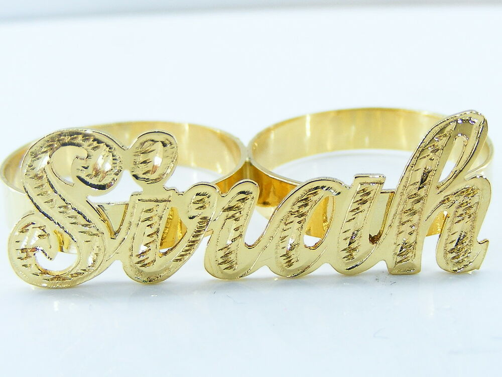 Gold Name Rings Two Finger