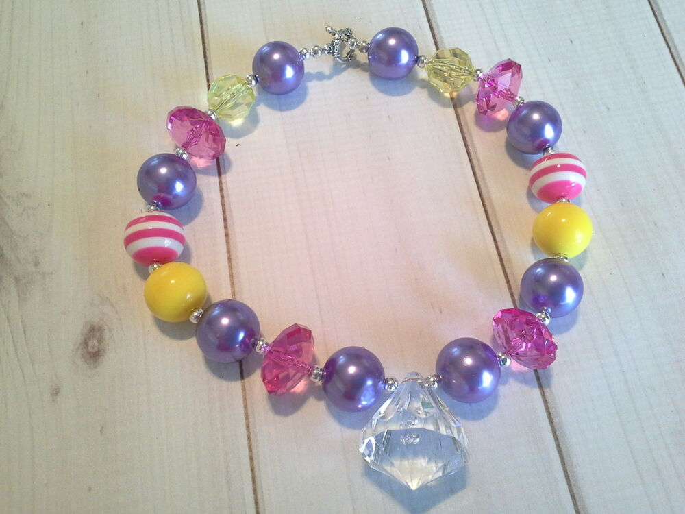bubblegum chunky bead necklace baby toddler brights