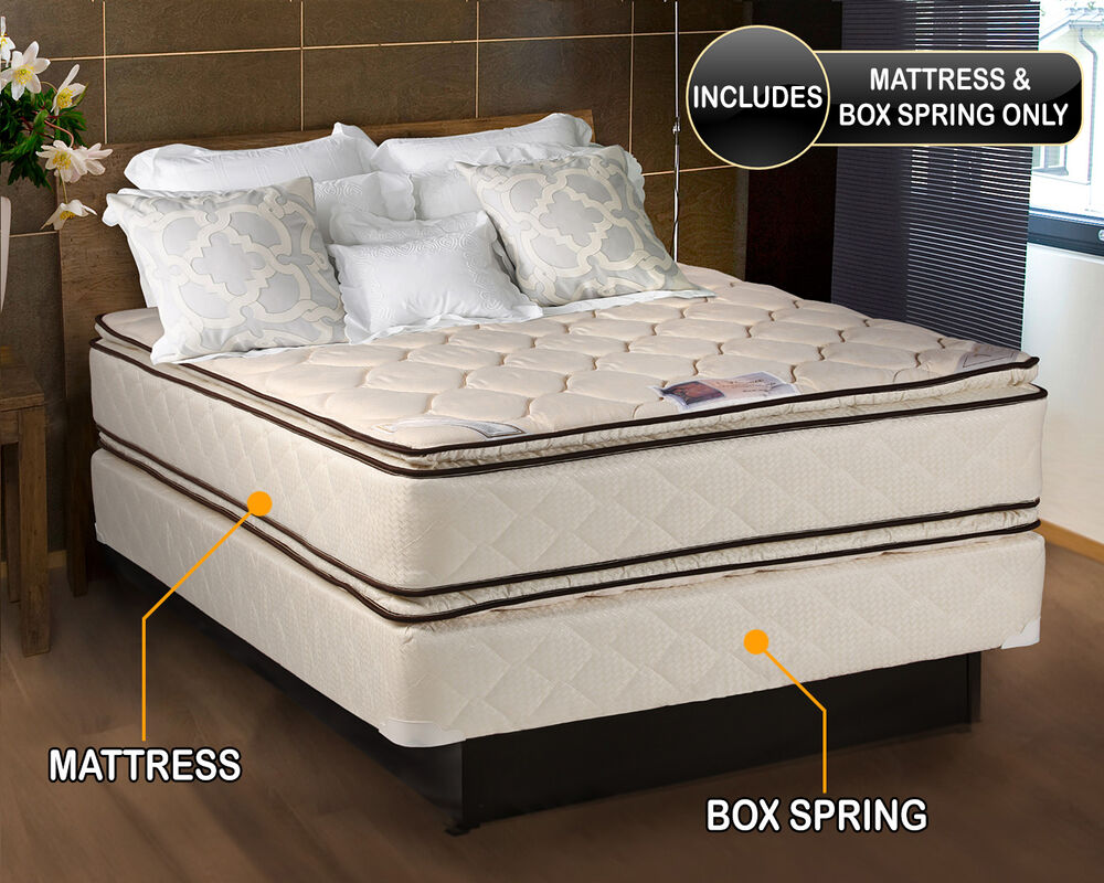Coil Comfort Pillowtop Twin Size Mattress And Box Spring Set Ebay
