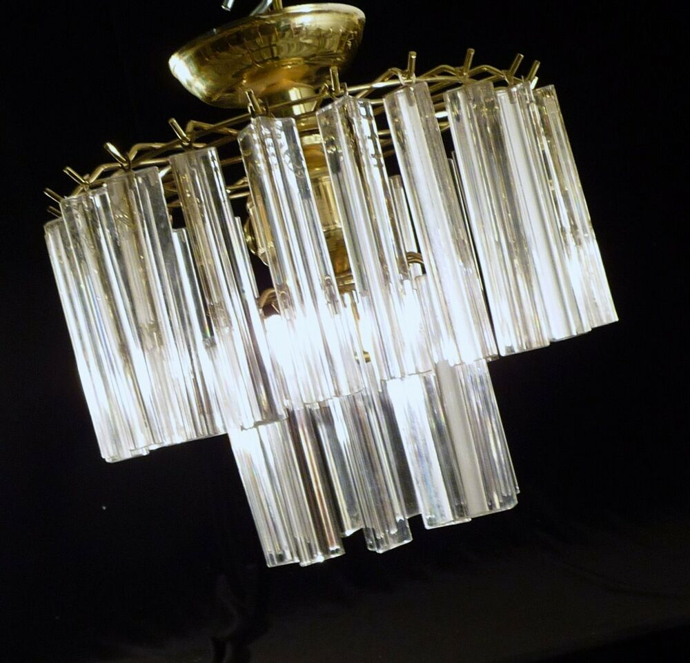 Murano Prism Chandelier: Medium Murano Venini 32 Triedi Prism 2 Tier 5 Light