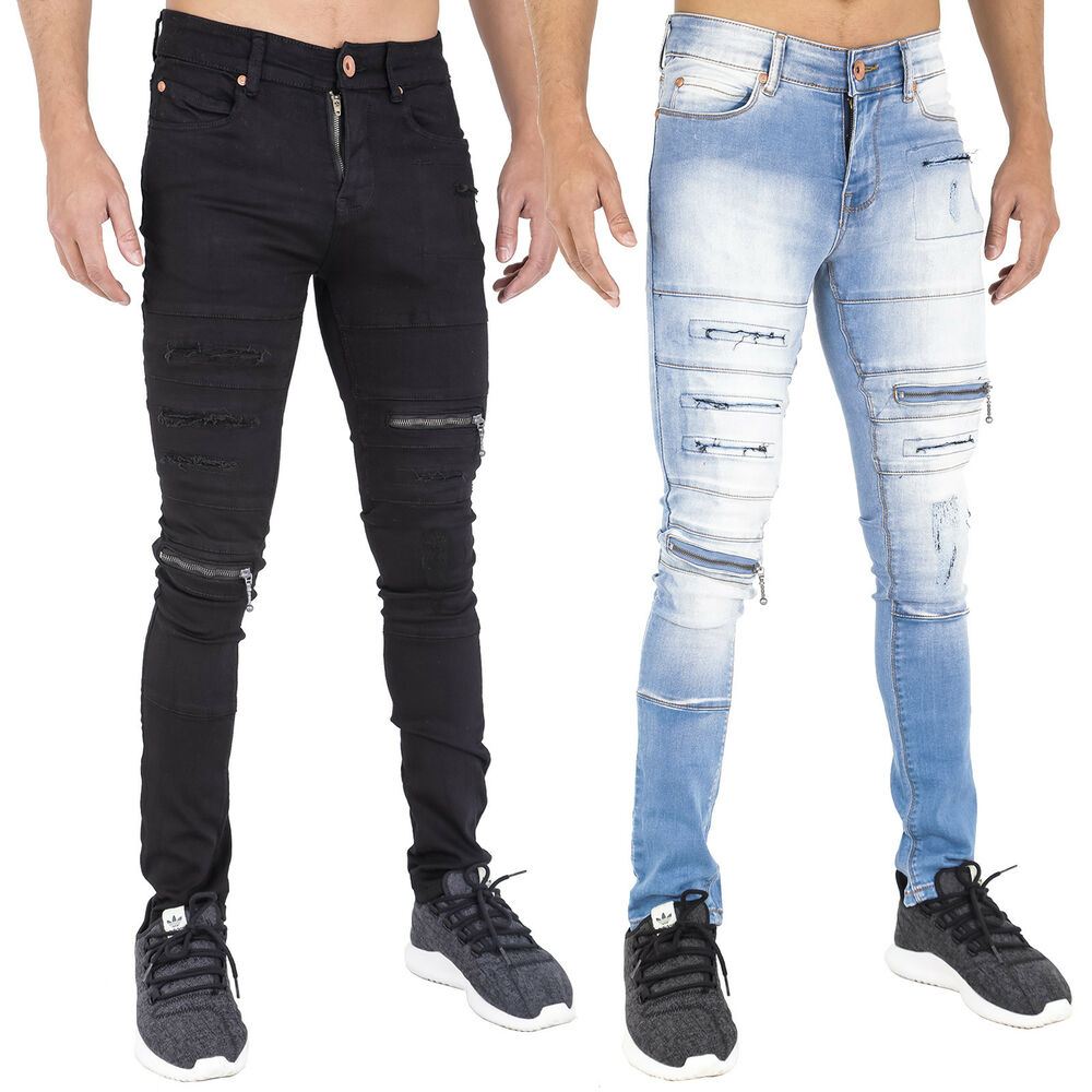 mens zip rip super skinny stretch punk retro denim jeans 28 30 32 34 36 38 40 ebay. Black Bedroom Furniture Sets. Home Design Ideas