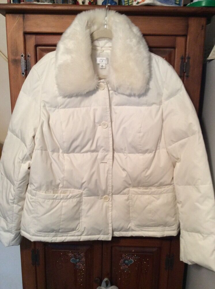 Ann Taylor Loft White Quilted Puffer Jacket With Removable