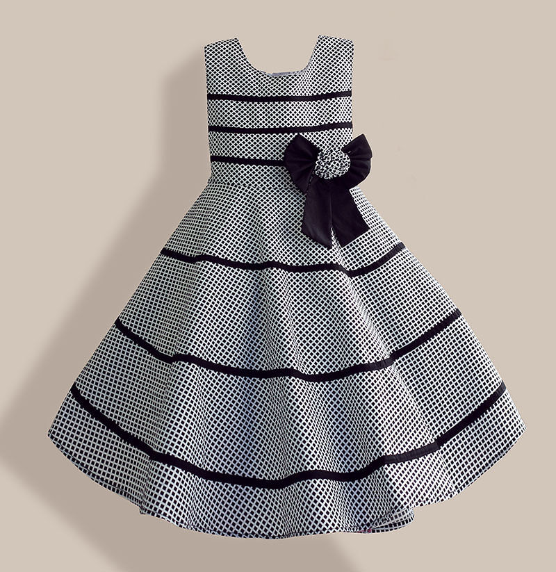 Fashion Girls Dress Gray Plaid Flower Bow Party Pageant ...