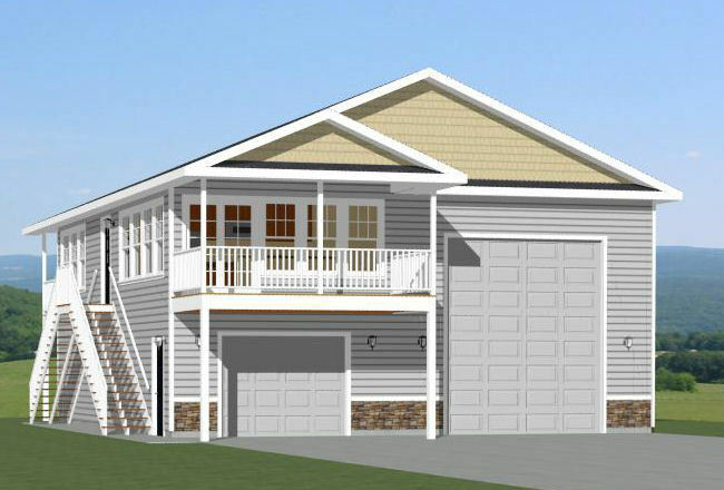 36x40 Apartment With 1-Car 1-RV Garage -- 902 Sqft -- PDF