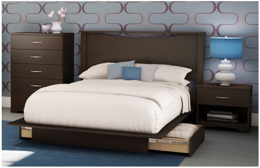 New 4 Piece Queen Brown Full Bedroom Set Furniture Dresser Bed Storage Platform Ebay