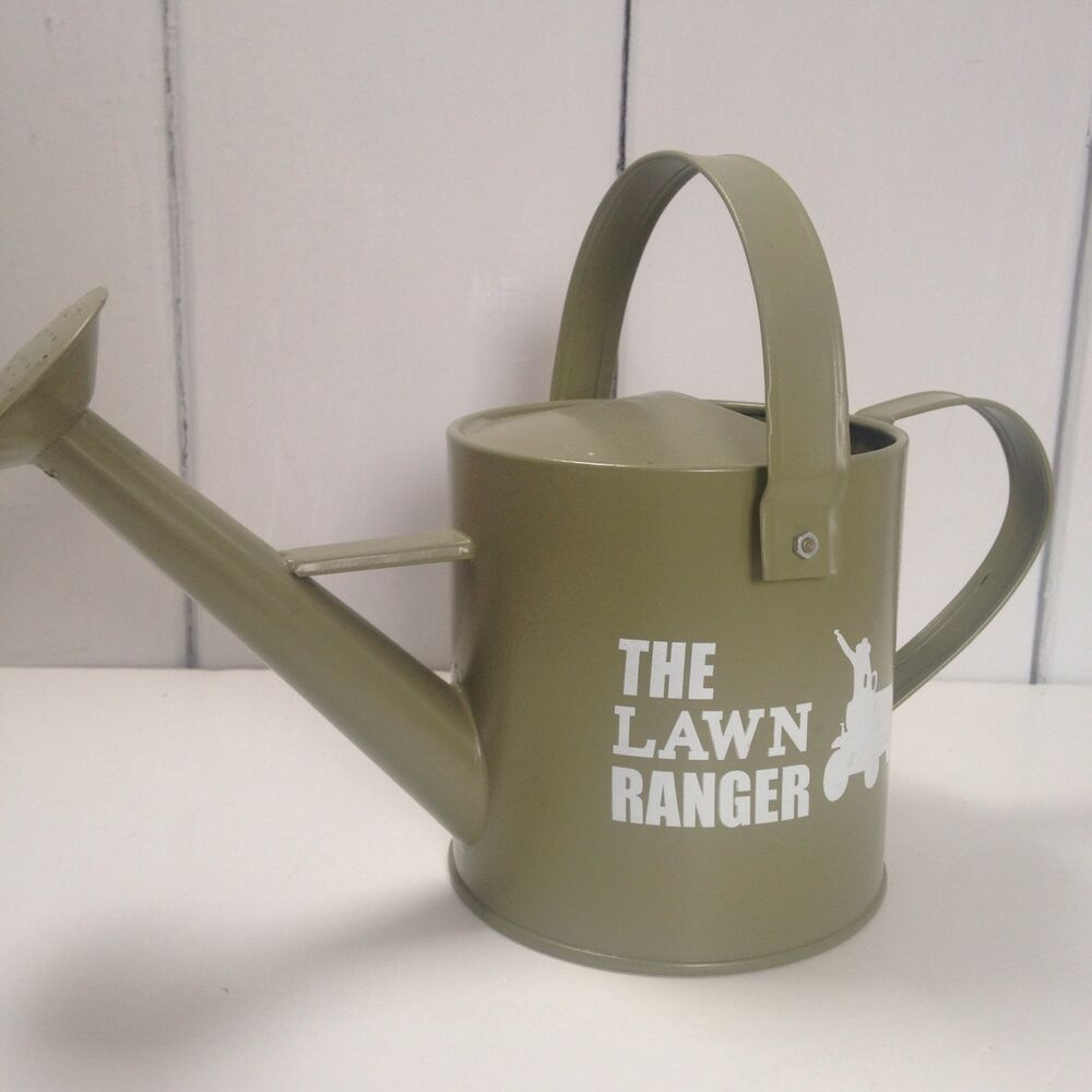 Details About Green Metal Watering Can With Text The Lawn Ranger Head Gardener