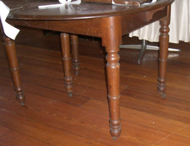 Antique Wood Table Round Turned Legs Extension Leaves Ebay
