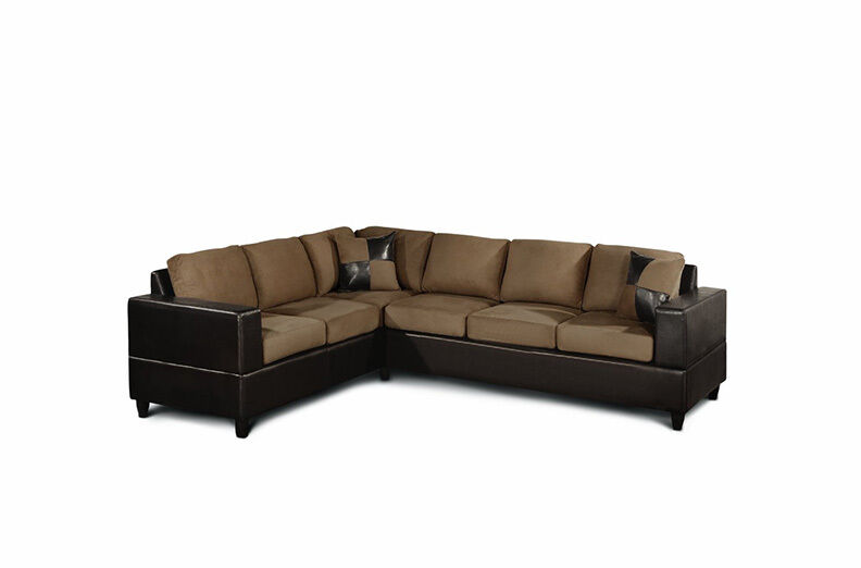 2 Piece Sectional Sofa W Accent Pillows Microfiber