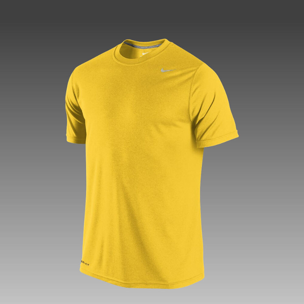 Nike men 39 s all yellow dri fit fabric short sleeve training for Dri fit material shirts